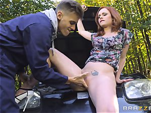 Stranded stunner Ella Hughes drills for her car fix