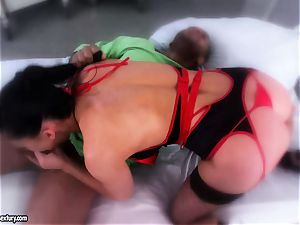 sexy babe Aletta Ocean is licking a black wood like a monster noodle