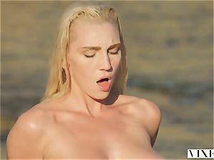 VIXEN Kendra Sunderland spunky orgy on a beach