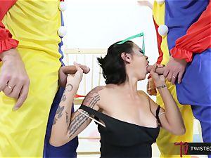 Dana Vespoli boinked by creepy gigantic man-meat clowns